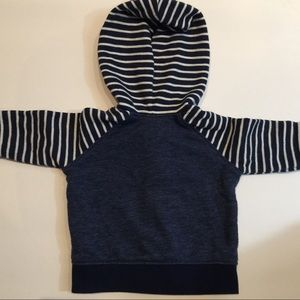 Shirts & Tops - Navy striped button hooded top 0-3m