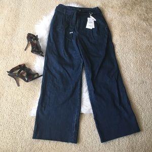 Zara Wide Leg High Waist Tie Front Denim Trousers