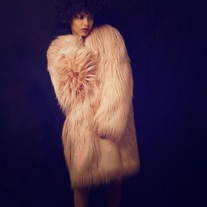 BCBG Runway Shaggy Faux Fur Coat