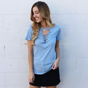 Tops - blue lace up tee