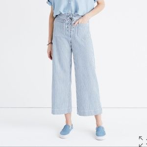 Madewell Wide Leg Lace-Up Trousers in Poppy Stripe