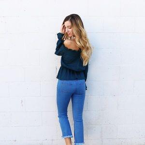 Denim - cropped fringe jeans