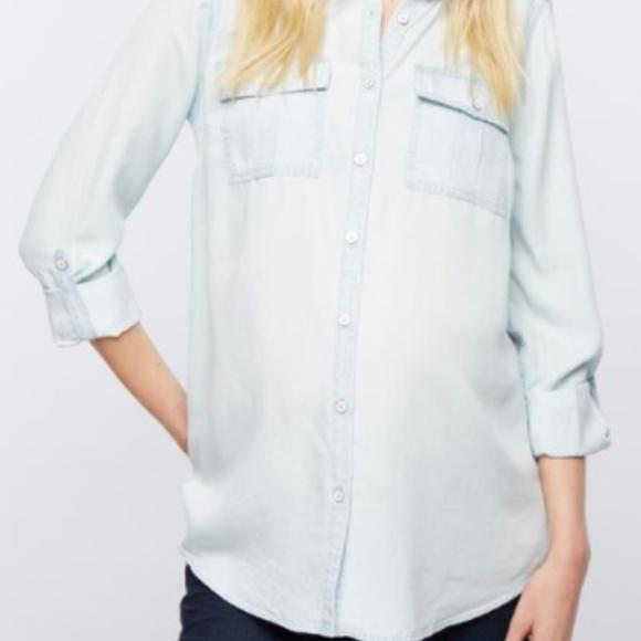 2d0e2b490068d Luxe Essentials Apparel Tops - Luxe Essentials Denim Chambray Maternity  shirt, S