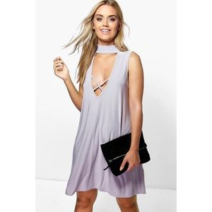 NWT - Gray Boho Chocker Dress