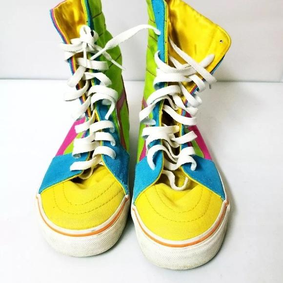 92dc0251a64b88 RARE Vtg 80s VANS Colorblock neon hi tops sneakers.  M 59cfbdf75c12f80980050fca
