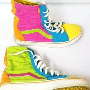 16d3ea6b5a7c0 RARE Vtg 80s VANS Colorblock neon hi tops sneakers