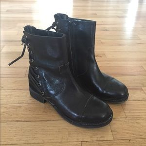 Rebels Black Leather Boots