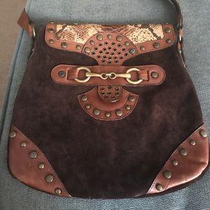 Suede Leather Brown shoulder bag