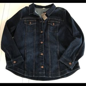 New J. Jill Coastal Denim Jean Jacket Sz XL