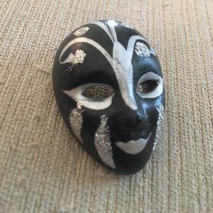 Jewelry - Bisque Mardi Gras mask pin silver black.