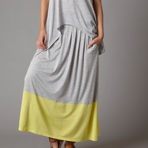 eileen fisher silk pleated colorblock midi skirt