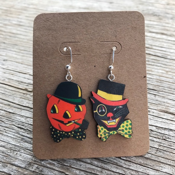 cat jack o lantern vintage halloween earrings