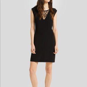 Sandro Rustico Lace Inset Dress in Black