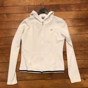 Nike White and Black Zip-Up Jacket Size Large