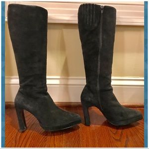Genuine leather suede knee high heel boots