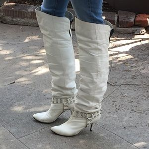 Shoes - 1980s white  rhinestone boots thigh high leather