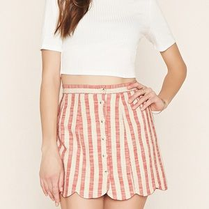 Dresses & Skirts - Candy stripe scalloped mini skirt