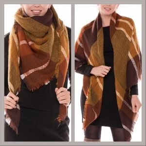 Accessories - Brown/burnt orange plaid blanket scarf with fringe