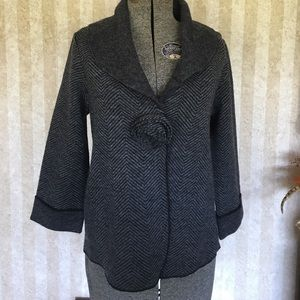 Gray wool jacket with 3/4 sleeves.