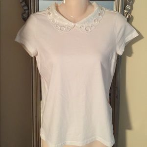 Tops - NWOT Ivory Detailed Sequin Collar Ladies Top XS