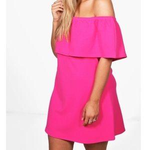 Boohoo off the shoulder pink dress uk size 16