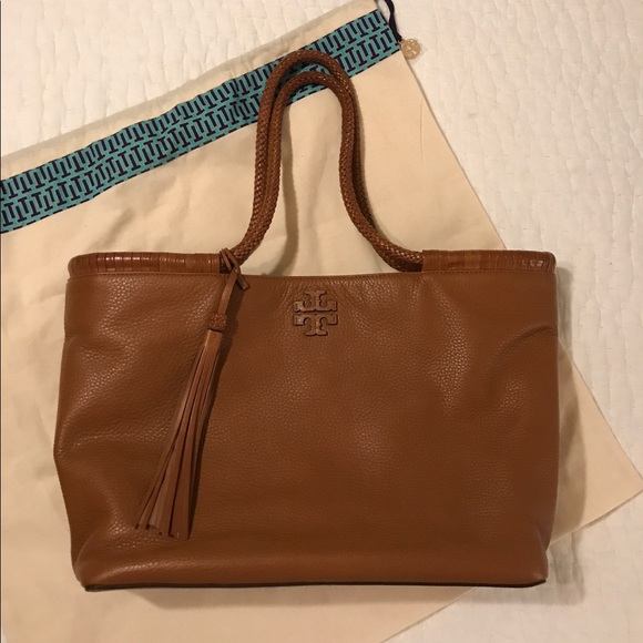 7b739d214aff SADDLE leather TORY BURCH Taylor tote 🕰. M 59cfe3e26d64bc241405b4b0