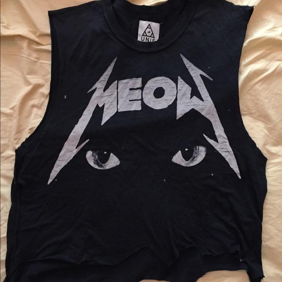 UNIF Tops Meow Metallica Font Tank Poshmark