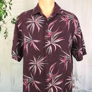 Caribbean Mens Button Front Burgundy Floral Shirt
