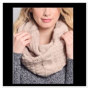 Ivory Cable-Knit Infinity Scarf