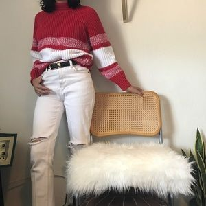 Vintage Red Chunky Knit Sweater