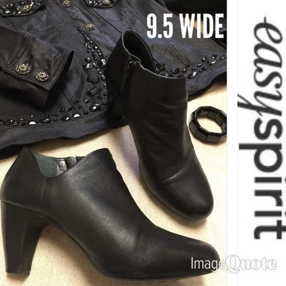 Easy Spirit Shoes | Black Leather Ankle