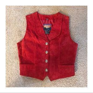 Vintage Red Suede Vest, Size Small, Western Vest