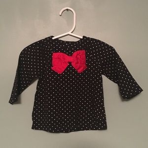 Carter's Girls 6M Black LS Tee w/ Red Bow