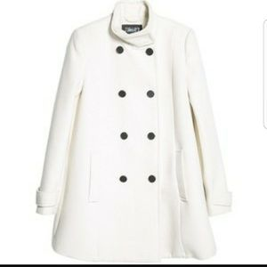 🎈Reduced🎈Mango white double breasted coat sz L