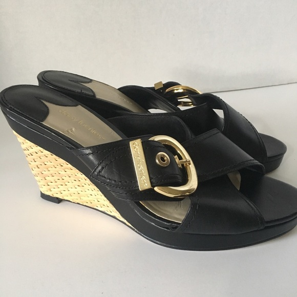 Daisy Fuentes Shoes Never Been Worn Black Wedge Mules Poshmark