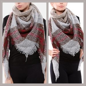 Accessories - Red/brown plaid blanket scarf with fringe