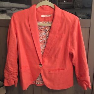 Coral linen blaze with 3/4 sleeves