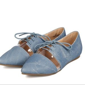 Edgy denim oxfords with translucent detail