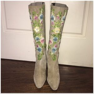 Beaded embroidered cream pink green knee boots