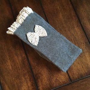 Accessories - Gray Thigh High Crochet Socks