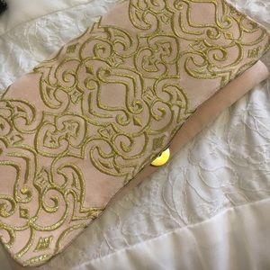Anthropologie pink & gold clutch