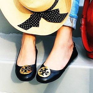Tory Burch Minnie Travel Ballerina flats black