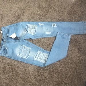 Blue light wash distressed jeans