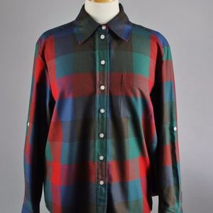 Vintage 90s Women's Check Long Sleeved Shirt