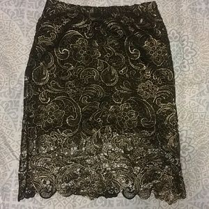 Gold and black lace skirt