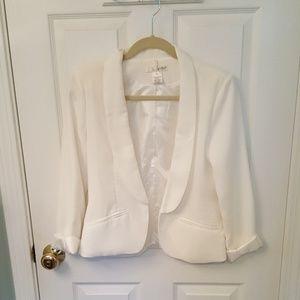 White Open Front Blazer