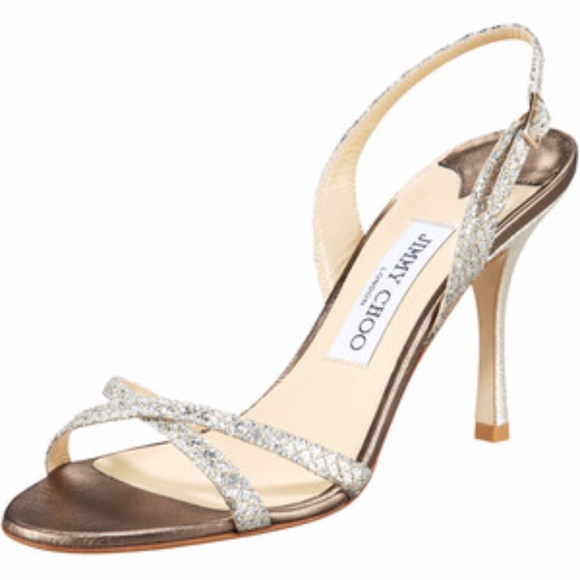 jimmy choo shoes strappy heel light bronze lam glitter poshmark rh poshmark com