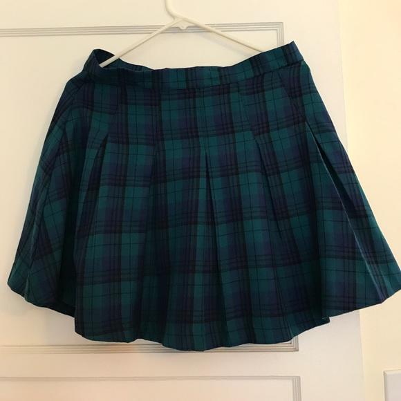 Hm Skirts Green And Blue Plaid Skirt Poshmark