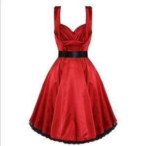 Satin Swing Dress RED Rockabilly Homecoming Skirt