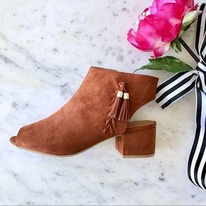 Shoes - SALE🚨Cognac Peep-toe Tassel Slingback Booties